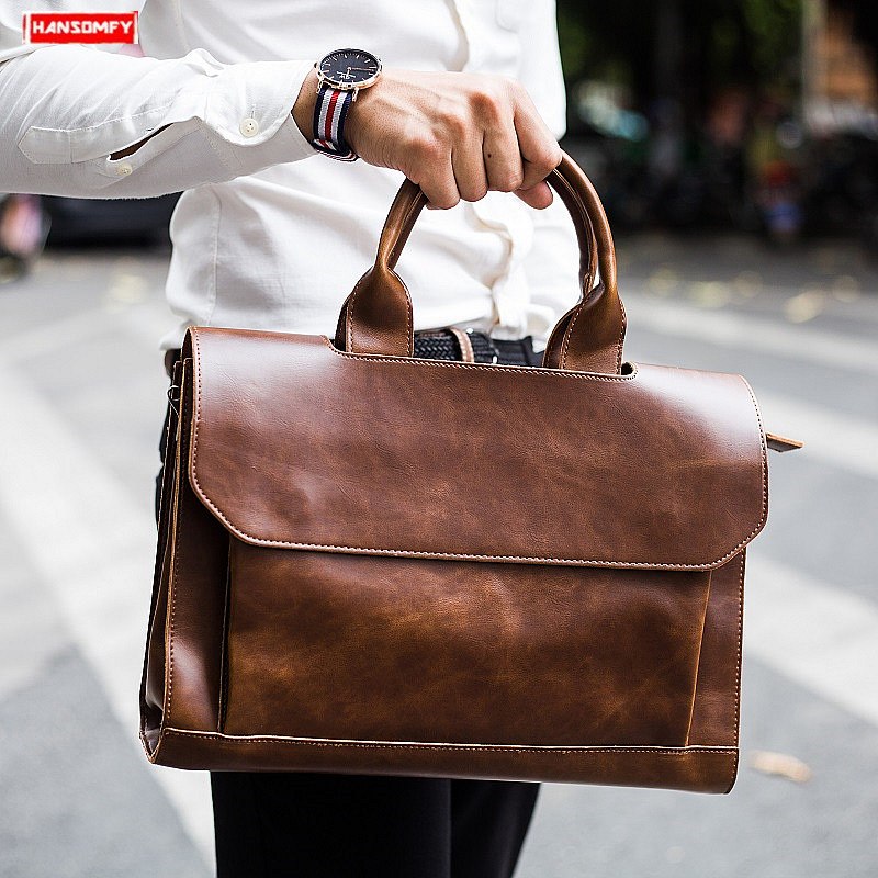 Genuine Leather Mens Handbag crazy horse leather men briefcase shoulder bag vintage crossbody bags 14 laptop briefcases 2019Genuine Leather Mens Handbag crazy horse leather men briefcase shoulder bag vintage crossbody bags 14 laptop briefcases 2019