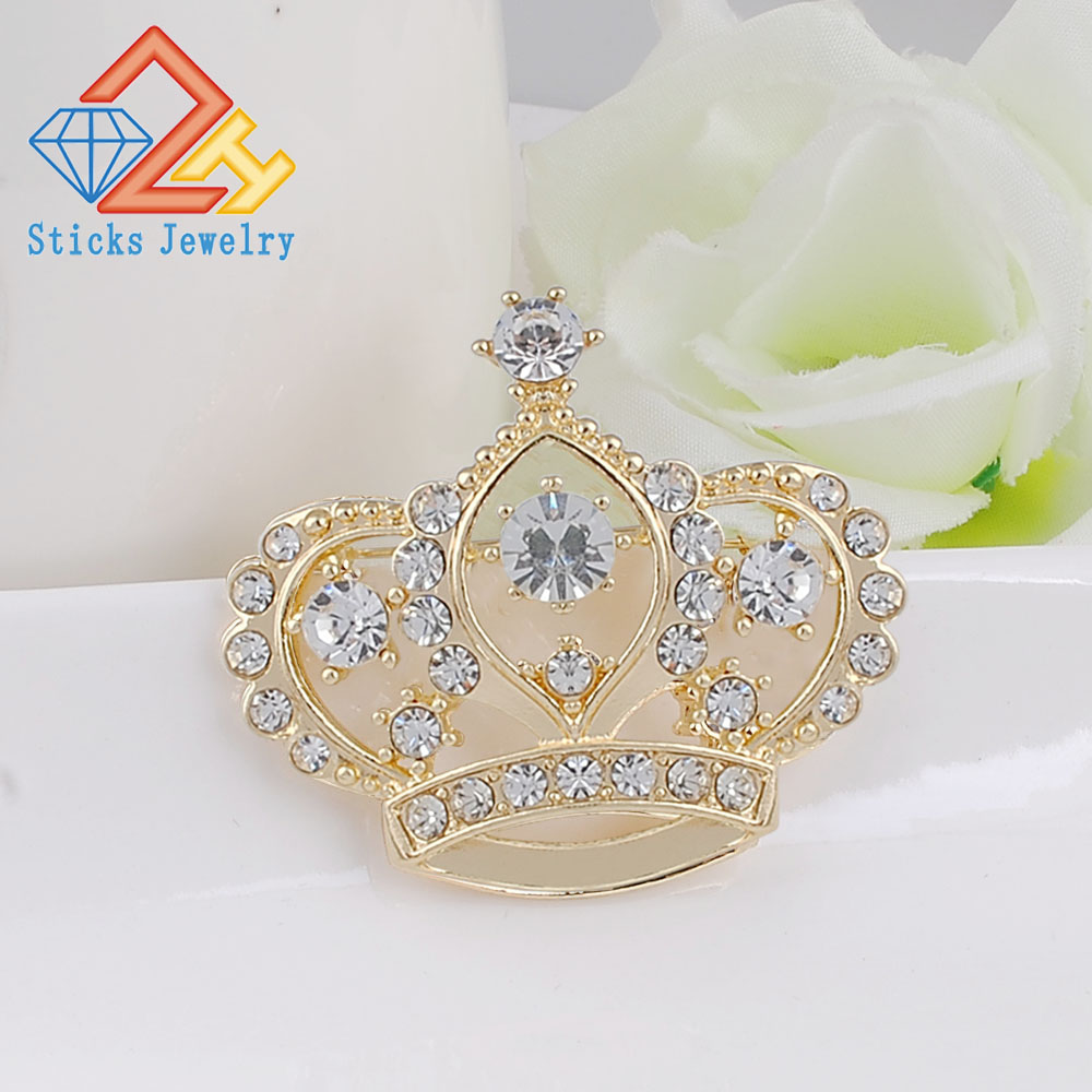 Female Crown Brooch Simulated crystal  white K Engagement wedding  Brooch for women