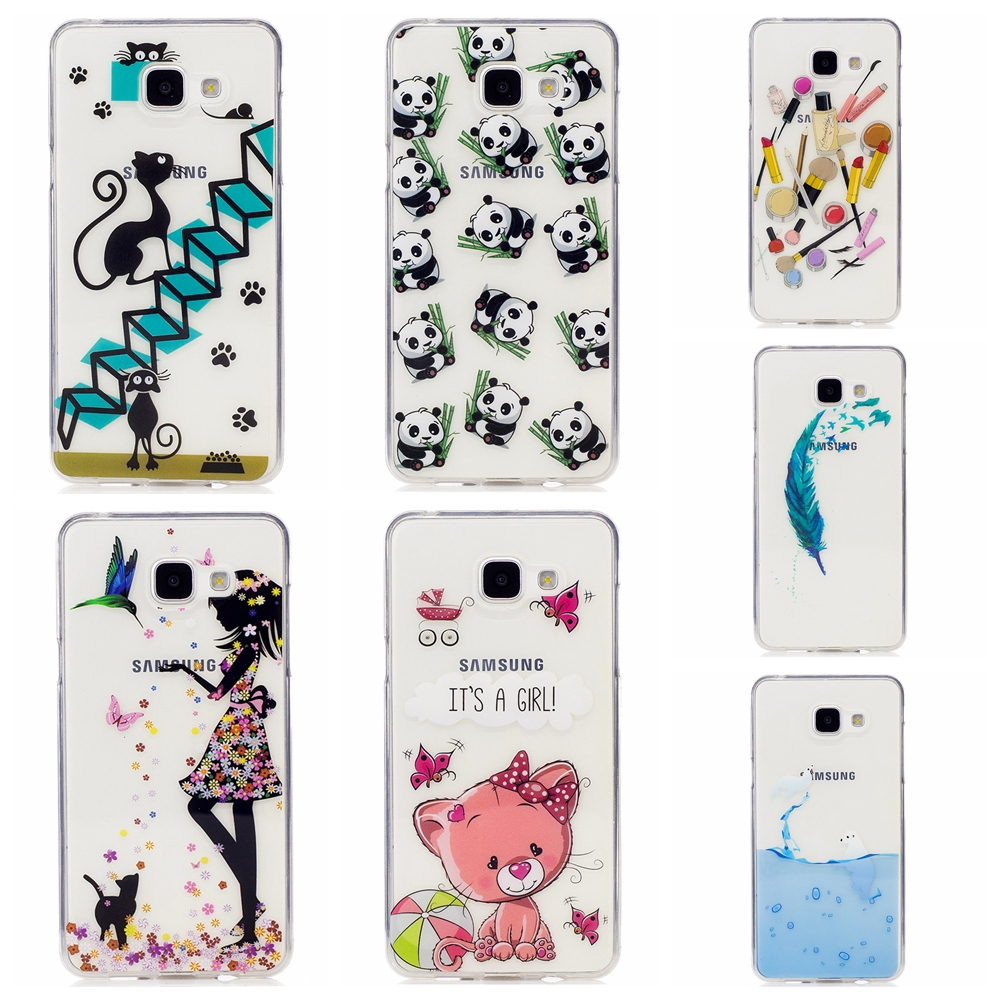 Beautiful icecream cat horse patterns Transparent TPU Soft Phone Case Cover For Samsung A310 A3 2016 phone case