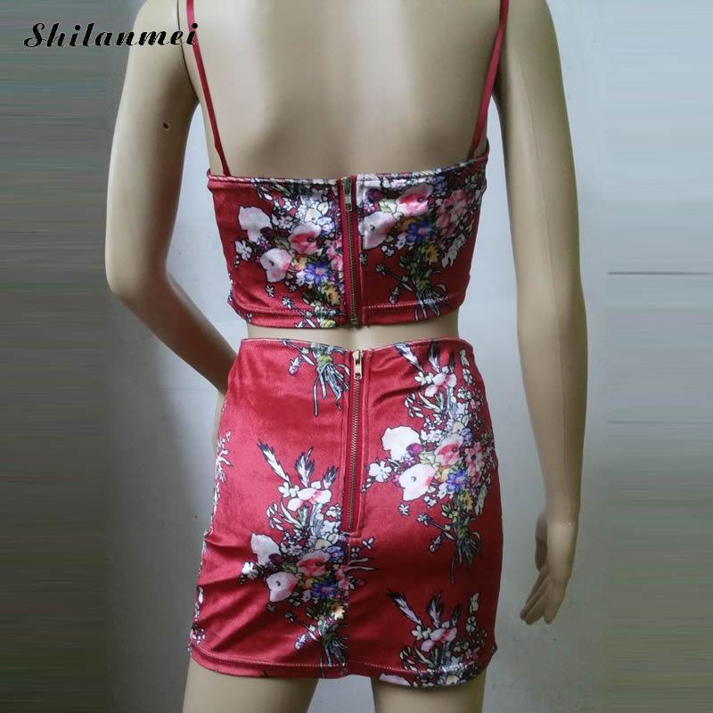 Red Floral Tracksuit Women Summer Backless Track Suit Print Sweat Suits 2 Two Piece Tank Top And Skirt Set Nightclub Set Black