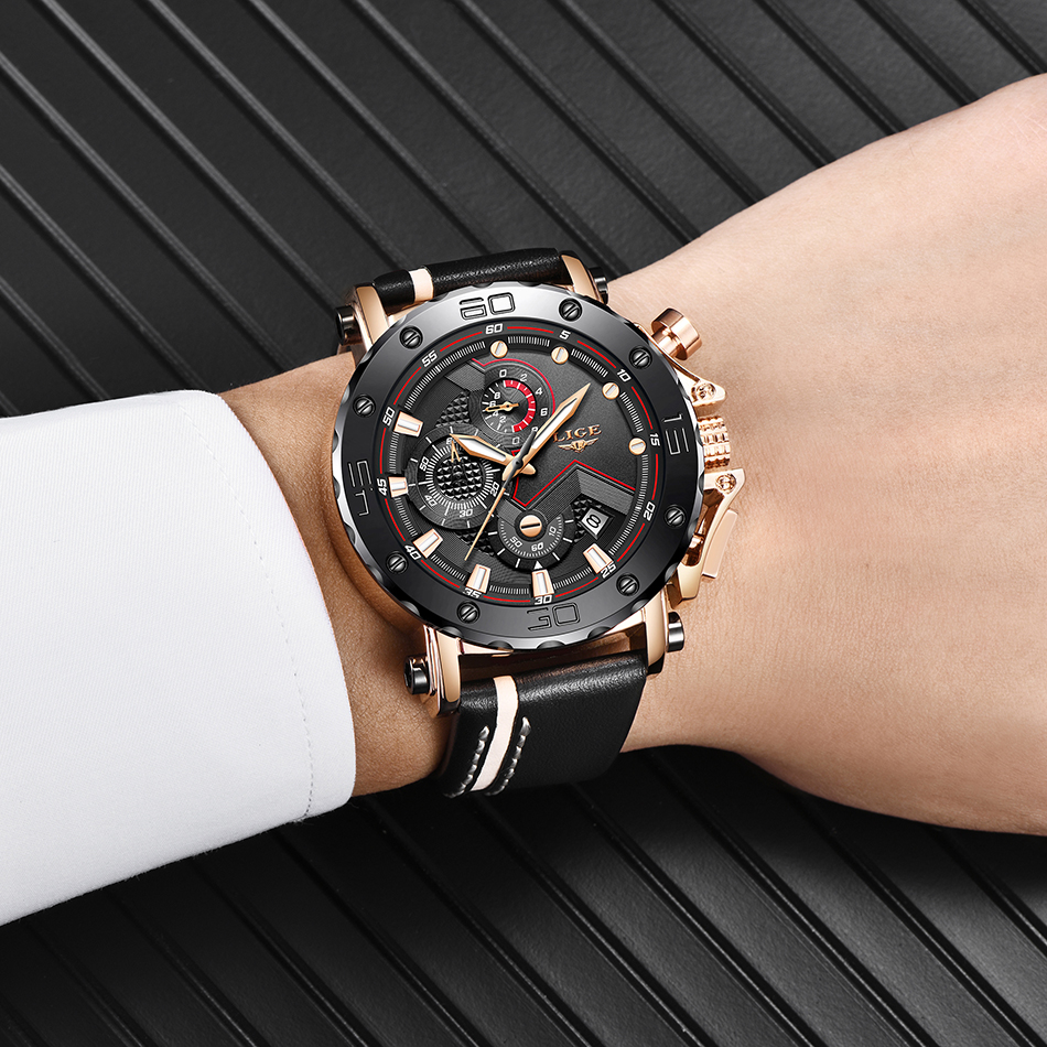 HTB1cCpyacrrK1RjSspaq6AREXXaV 2020LIGE New Fashion Mens Watches Top Brand Luxury Big Dial Military Quartz Watch Leather Waterproof Sport Chronograph Watch Men