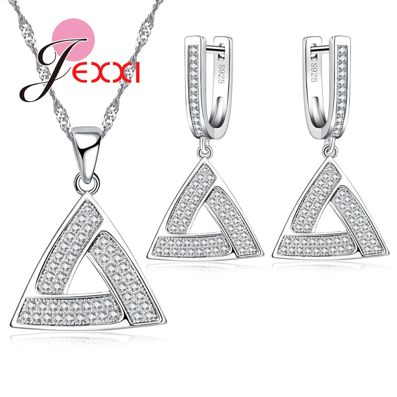 Pendant Necklace Earrings Jewelry-Set Sterling-Sivler Fashion Women Simple Party