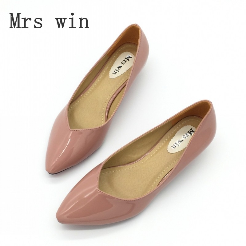 Spring Autumn Fashion Brand Shoes Women's Pumps Shoes Pointed Toe PU Leather Shallow Low Heel Office Ladies Single Shoes Pink new spring autumn women shoes pointed toe high quality brand fashion ol dress womens flats ladies shoes black blue pink gray