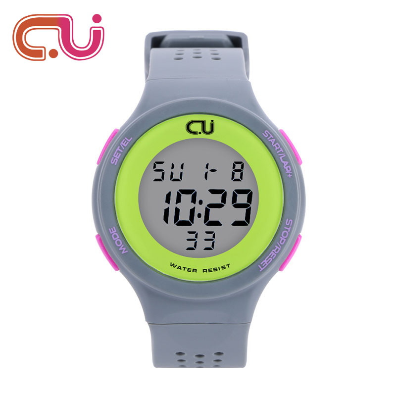 Fashion CU Brand Sports Watch Alarm Military Digital LED Watches For Men and Women Multifunctional Casual Wristwatches New 2017 marlong women sandals summer new candy color women shoes peep toe stappy beach valentine rainbow jelly shoes woman