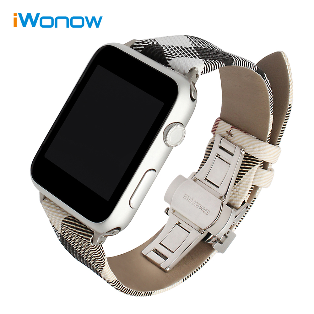 Calf Leather Watchband Grid Pattern Strap for iWatch Apple Watch 38mm 42mm Series 1 2 3 Butterfly Buckle Band Wrist Bracelet 6 colors luxury genuine leather watchband for apple watch sport iwatch 38mm 42mm watch wrist strap bracelect replacement