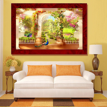 Aml Home full bead strass embroidery garden in paradise diamond painting animal peacock living room decoration painting hand