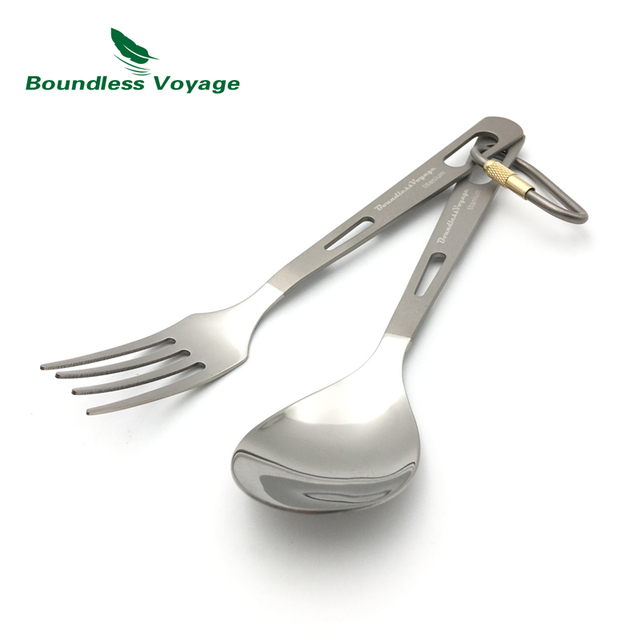 Boundless Voyage Titanium Knife Fork Spoon Spork 2pcs Set Camping Outdoor Tableware Cutlery