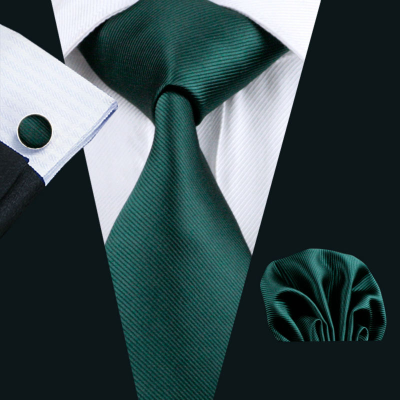 Ls-830 Mens Tie Green Solid 100% Silk Classic Jacquard Woven Barry.Wang Tie+Hanky+Cufflinks Set For Men Formal Wedding Party