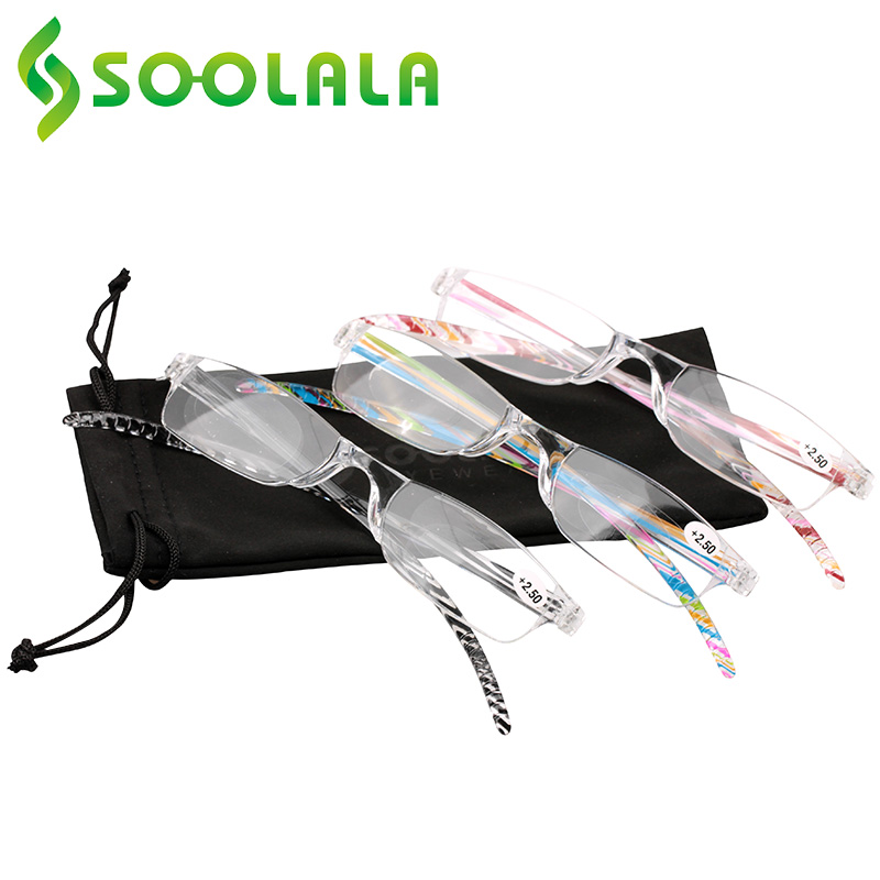 SOOLALA New Brand Reading Glasses Women Men Oculos De Grau Glasses Reader Colorful Plastic Frame Degree +1.0 To +4.0 Diopter