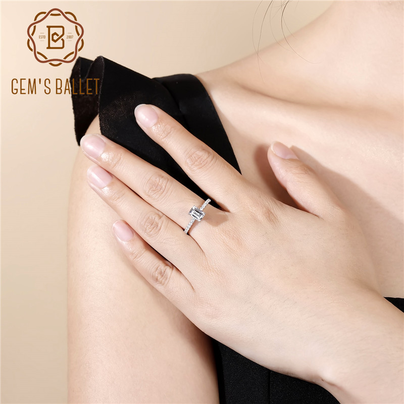 Gem's Ballet 925 Sterling Silver White CZ Ring 1.28Ct Radiant Cut Cubic Zirconia Wedding Engagement Rings For Women Fine Jewelry