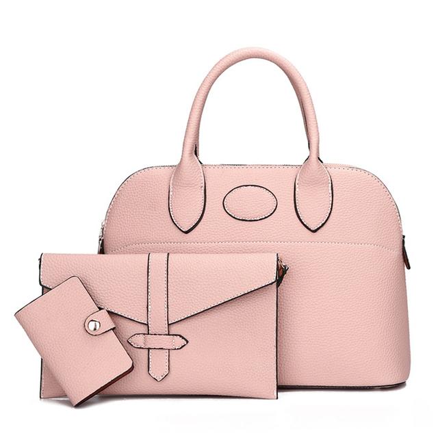 BAGSMALL 3pcs/set Women Leather Handbag Large Shell Bag Solid Shoulder BagsTote Bag Ladies Purse Wallet Female Messenger Bags