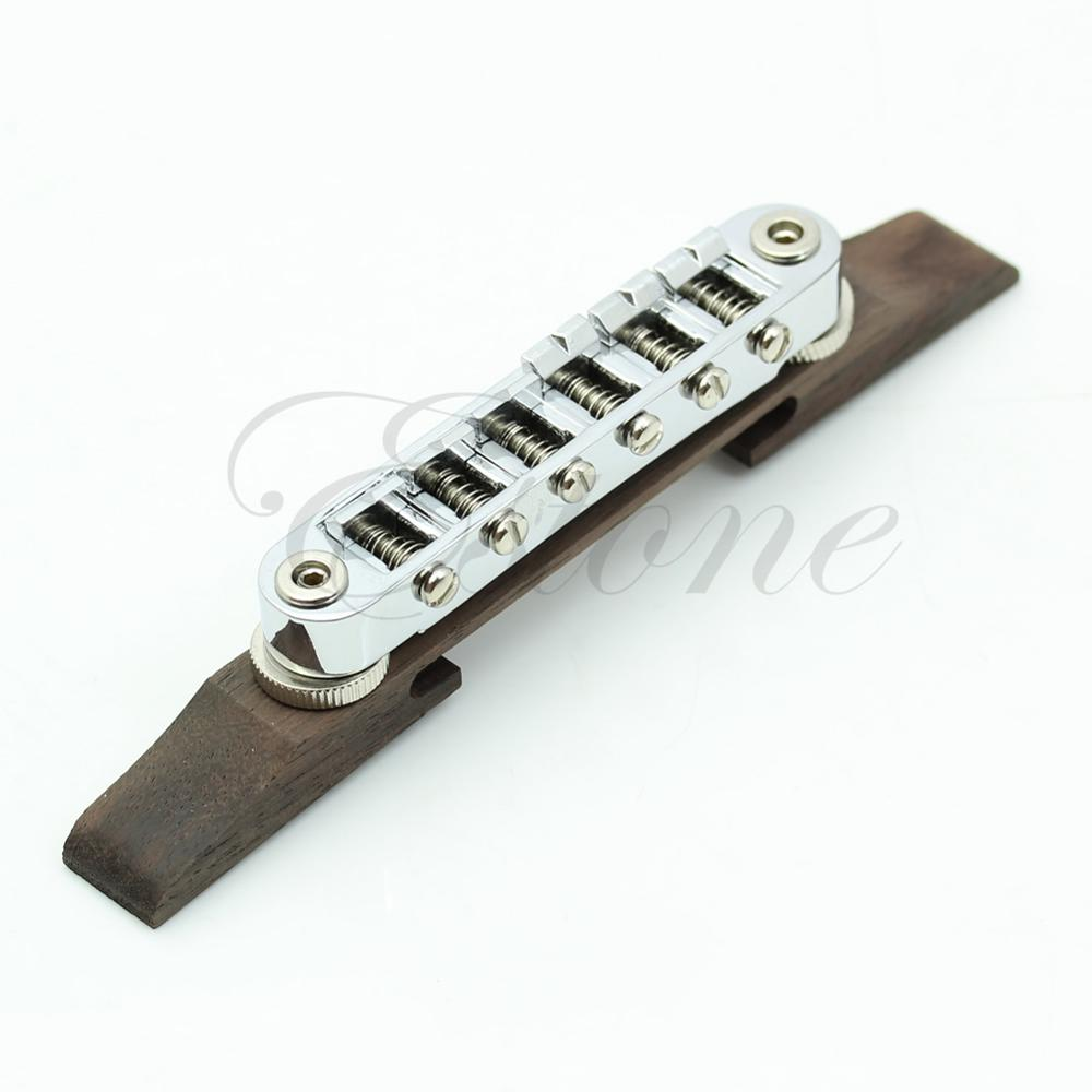 Adjustable Chrome Rosewood Bridge Roller Saddles For Les Paul Jazz Guitar