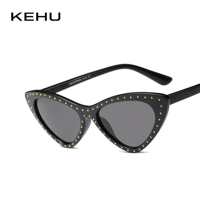 f0d2a2f1a0d KEHU Ladies Cat Eye Sunglasses Fashion Triangle Small Frames Eyewear  Glasses Rivets Ladies Eyewear Designer Brands UV400 K9480