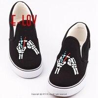 E LOV Hip Hop Style Canvas Shoes Men Footwear Printed Rock Band 21 Pilots Man Boys