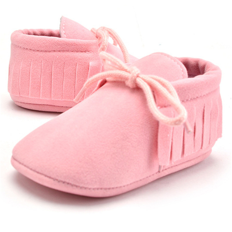 2019 PU Suede Leather Newborn Baby Boy Girl Moccasins Soft Moccs Shoes Bebe Fringe Soft Soled Non-slip Crib Lace-up Baby Shoes