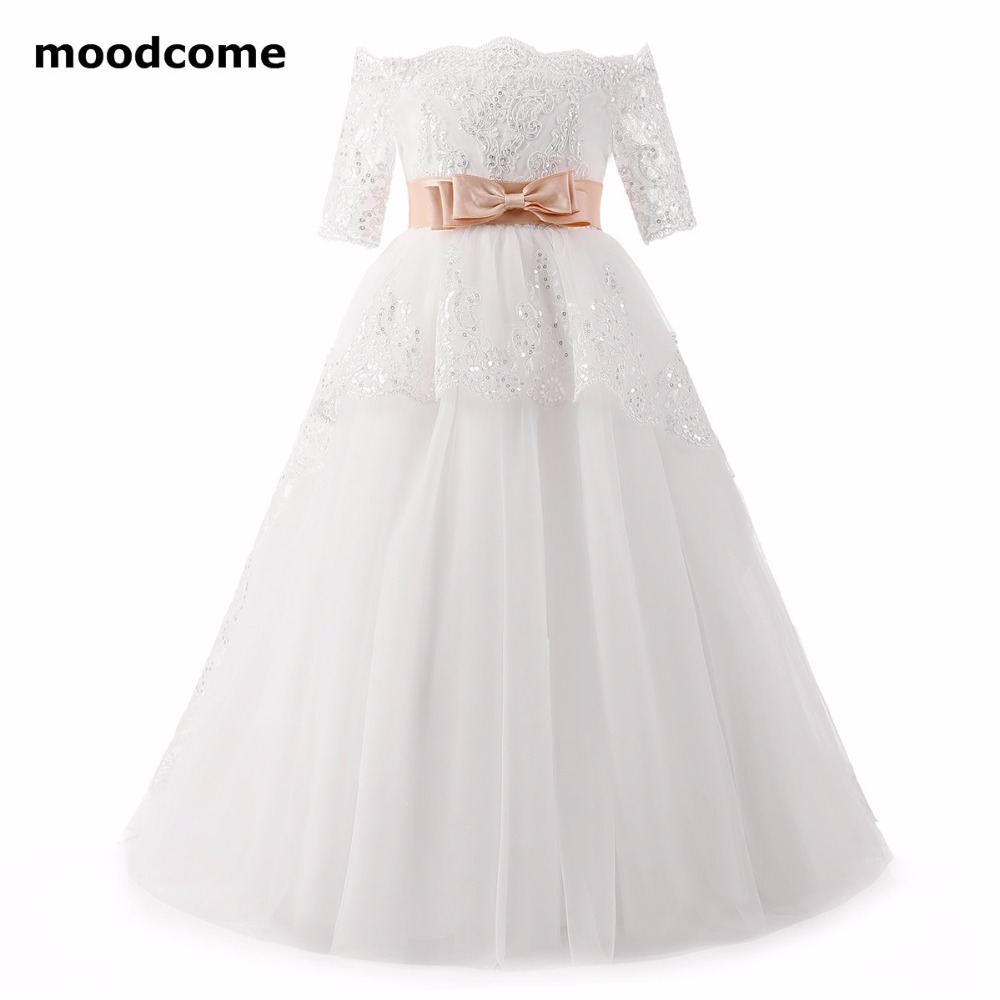 2018 New Cheap Flower Girl Dresses Floor Length Tulle Applique Short