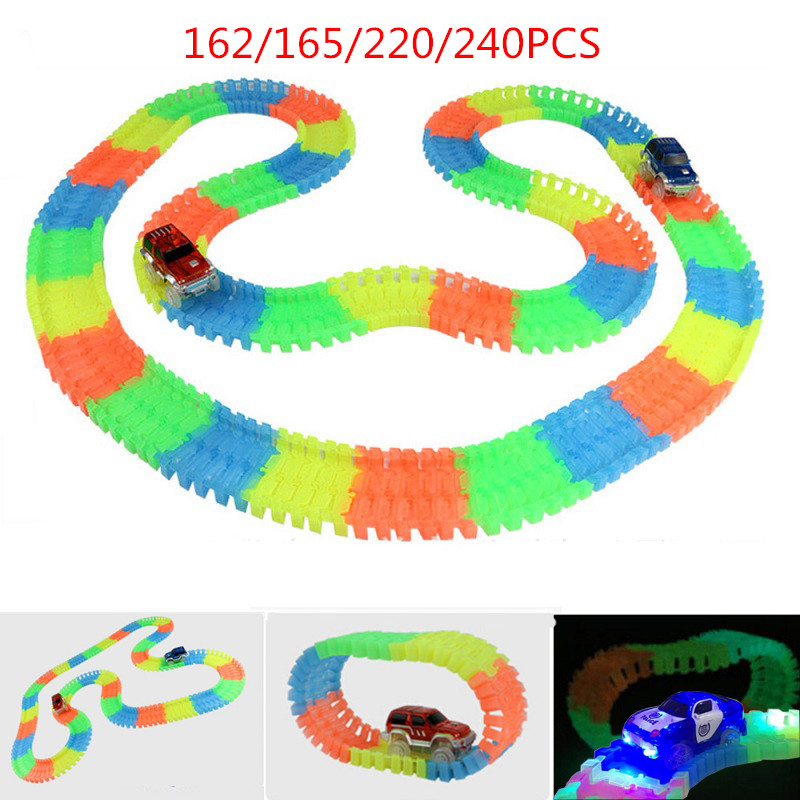 glow racing track set led track car toy 162 165 220 240pcs race track 1pc led car in diecasts. Black Bedroom Furniture Sets. Home Design Ideas