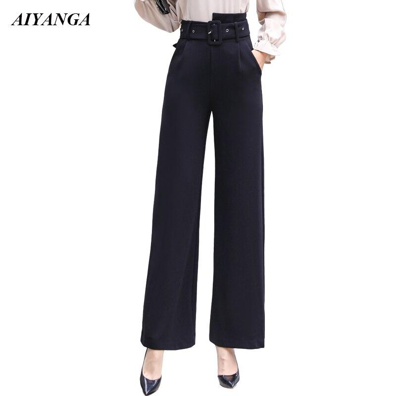 2018 OL Fashion   Pants   Women   Wide     Leg     Pants   with Belt High Waist Trousers Female Suit   Pants   Autumn Style Office Ladies Black