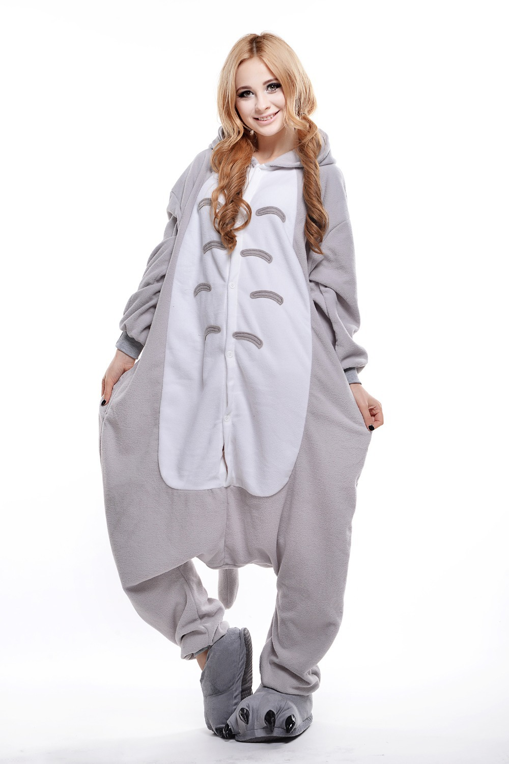 caf4abef252b Adult Totoro Onesie  Animal Footed Pajamas  Plus Size Anime Pajamas  Halloween  Costumes for Women and Men  Carnival Costumes-in Mascot from Novelty ...