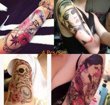 4 Pcs/set Beauty Makeup Body Art Sexy Skull+Girl+Flower Eyes Tattoo Waterproof Temporary Tattoo Stickers