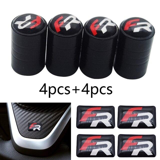 8 stuks Auto-Styling Wheel Bandventielen Tyre Air Caps Case Auto sticker Voor Seat Leon FR Ibiza Altea exeo Formule Racing Accessoires