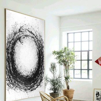Handmade high quality thick knife abstract oil painting Circle Black White abstract on Canvas Painting Decor Oil Painting art