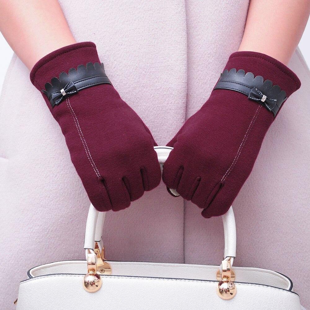 Fashion women bowknot winter warm gloves mittens winter gloves gloves women driving gloves guantes mujer luvas de inverno