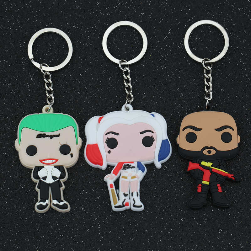 Suicide Squad Keychain Jared Leto The Joker Margot Robbie Harley Quinn Will Smith Deadshot Floyd Lawton Keyring Key Chain Ring