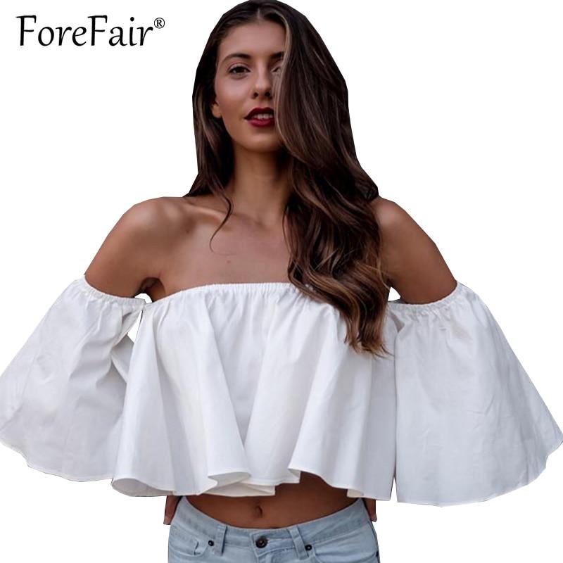Forefair New Fashion Ruffles Crop Top Summer Women Blusa Slash Neck Off Shoulder Half Sleeve Cropped White/Red/Black Casual Top