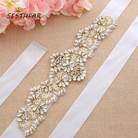Pearls Wedding Belt Crystal Bridal Sash Gold Diamond Belt Hand Beaded Rhinestones Belt For Wedding Dress J206G