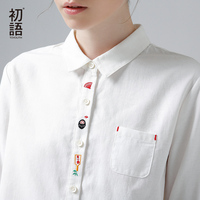 Toyouth 2017 New Arrival Women Spring Blouse Fashion Funny Pattern Embroidery Turn Down Collar Shirt Female