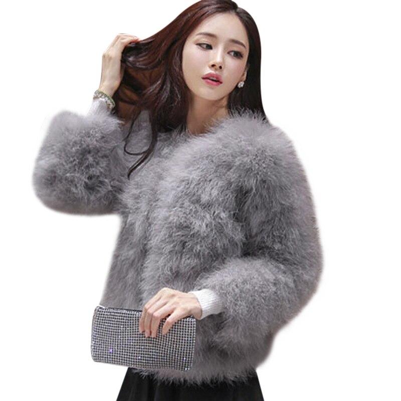 01f147347c545 Luxury Women Coat Faux Ostrich Fur Jacket Ladies Turkey Feather Plus Size Winter  Shaggy Outwear Long Sleeve Fourrure Female-in Faux Fur from Women s ...