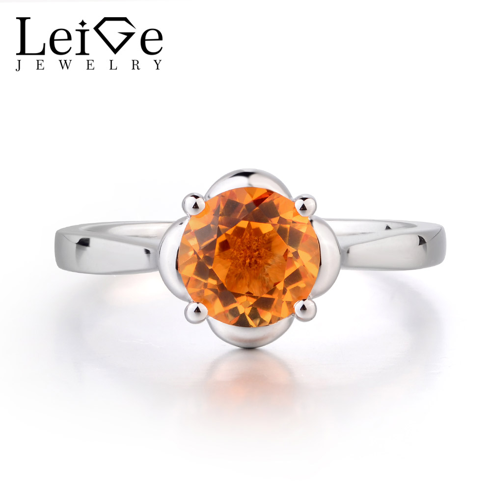 Leige Jewelry Round Cut 925 Sterling Silver Natural Citrine Rings Anniversary Wedding Ring Withe Stone Trendy Gifts For Woman Leige Jewelry Round Cut 925 Sterling Silver Natural Citrine Rings Anniversary Wedding Ring Withe Stone Trendy Gifts For Woman
