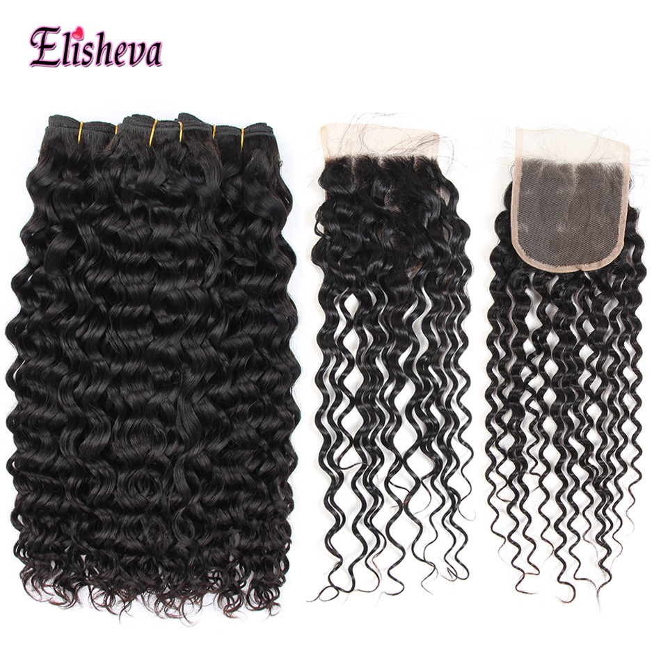 Elisheva Brazilian Hair Bundles with Closure Water Wave 100% Human Hair Weaves 3 bundles with Closure Natural Black Hair NonRemy-in 3/4 Bundles with Closure from Hair Extensions & Wigs    1