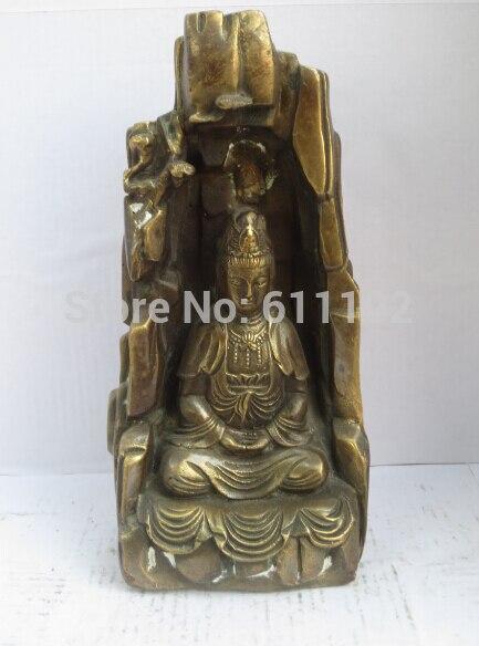 Antique Imitation FengShui Home decor Hand carved Copper Buddhism Guanyin statue/sculpture Metal crafts|decorative crafts lamps|decorative craft furniture|decor craft - title=