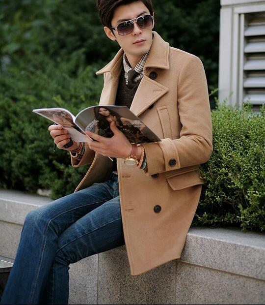 Khaki teenage Double breasted long wool coat men 2020 trench jackets mens wool coats high quality