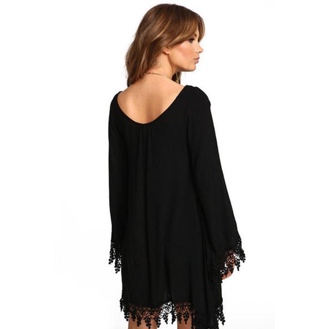 Girl Long Sleeve Lace Summer Chiffon Beach Dress Women Tunic Casual Boho Dress Runway Hippie Chic Clothing Plus SizeZ Y2