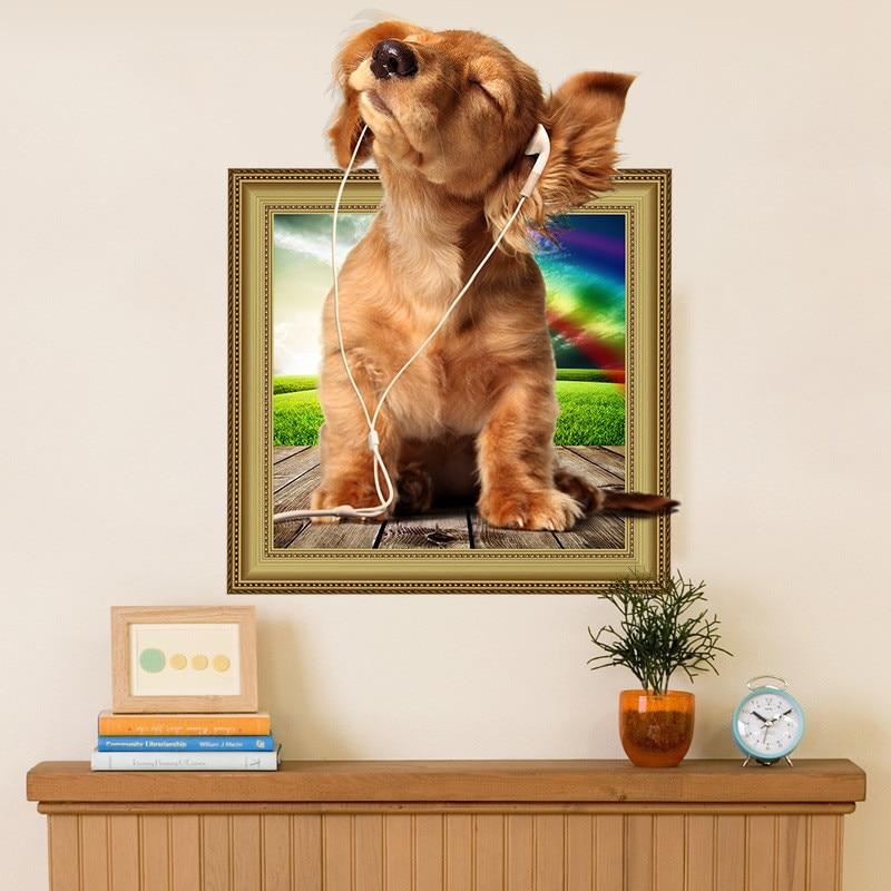 Music Dogs Wall Sticker Refrigerator Bathroom Living Room Bedroom Pet Decor Wall Decor 3d Effect Animal