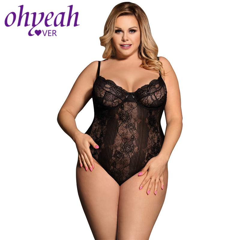 Ohyeahlover Bodysuit V Neck Bodycon Women Rompers Off White   Jumpsuits   RM80536 Fashion Print Plus Size Sheer Underwire Lace Teddy