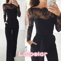Laipelar Elegant Off shoulder Lace Rompers Womens Summer Jumpsuit Sexy Ladies Casual Long Trousers Overalls White Jumpsuit 2018