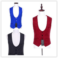 Fashion men's vest business casual men's dress vest is a formal four color red and white black customization