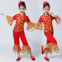 New Chinese Classical Dance Costumes Red Dance Wear for Girls Yangko Dance Fan Umbrella Dance Stage Performance Clothing