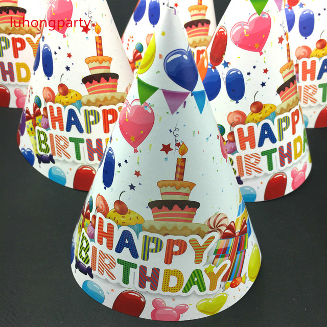 18pcs Lot Happy Birthday Balloon Cake Caps With Strings Kids Boys Party Hats Cheering Cartoon Supplies Decoration Favors