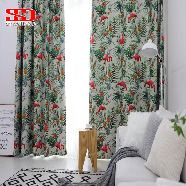 cute curtains for living room vintage chairs flamingos blackout decor tropical leaves smooth fabric hanging drapes window treatments blinds