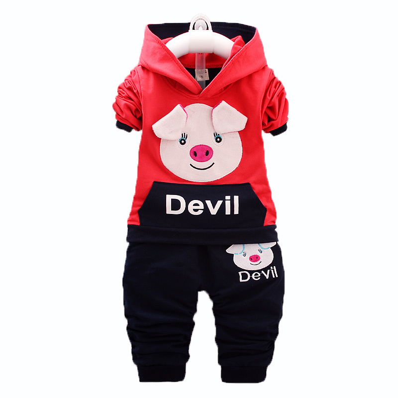 Children Boys Girls Clothing Suits Spring Autumn Baby Cartoon Pig Hoodies Pants 2Pcs/Sets Kids Brand Clothes Toddler Tracksuits malayu baby kids clothing sets baby boys girls cartoon elephant cotton set autumn children clothes child t shirt pants suit