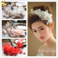 Fashion Bride Hair Accessories Floral Headband Pearl Hairband Handmade Headpiece Crown Bride Fascinator Gifts Wedding 89190