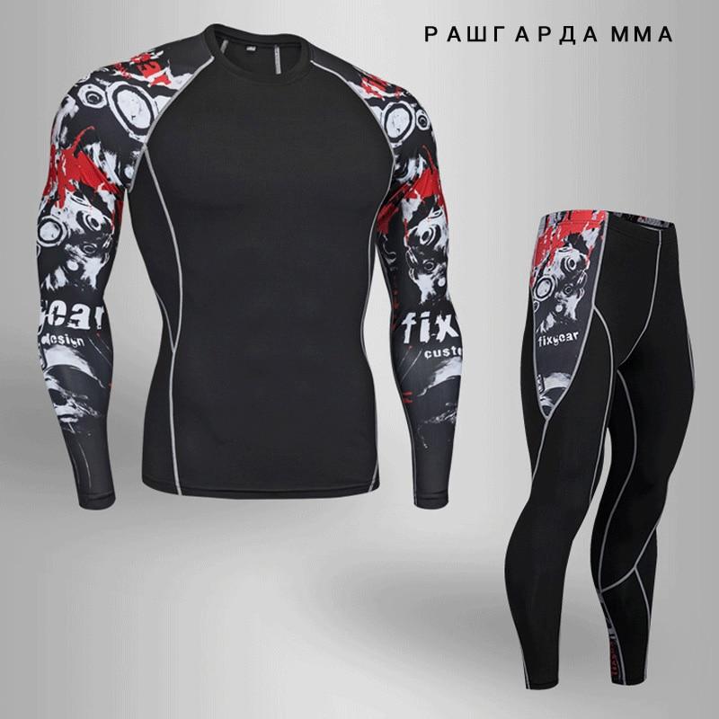 2018 winter crossfit t-shirts Leggings set männer kleidung thermische unterwäsche rashgard MMA kompression 2 stück trainingsanzug männer Marken
