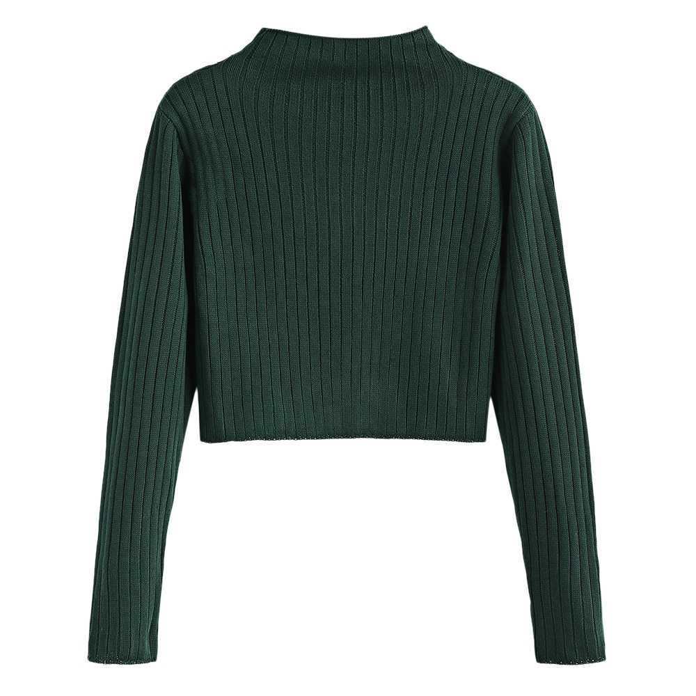 53ec8d88c Women Ribbed Cropped Sweaters Mock Neck Long Sleeve Solid Short Pullovers  Casual Autumn Fashion Crop Tops