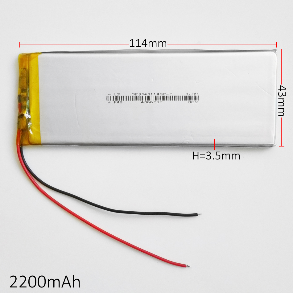 3.7V 2200mAh lipo polymer lithium rechargeable battery 3543114 for MP3 GPS navigator DVD mobile phone power bank Tablet PC