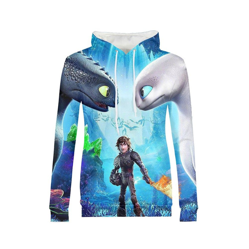 Women Hoodies Fashion How To Train Your Dragon 3D Printing Hoodies Pullover Hoodies Long Sleeves Sweatshirt